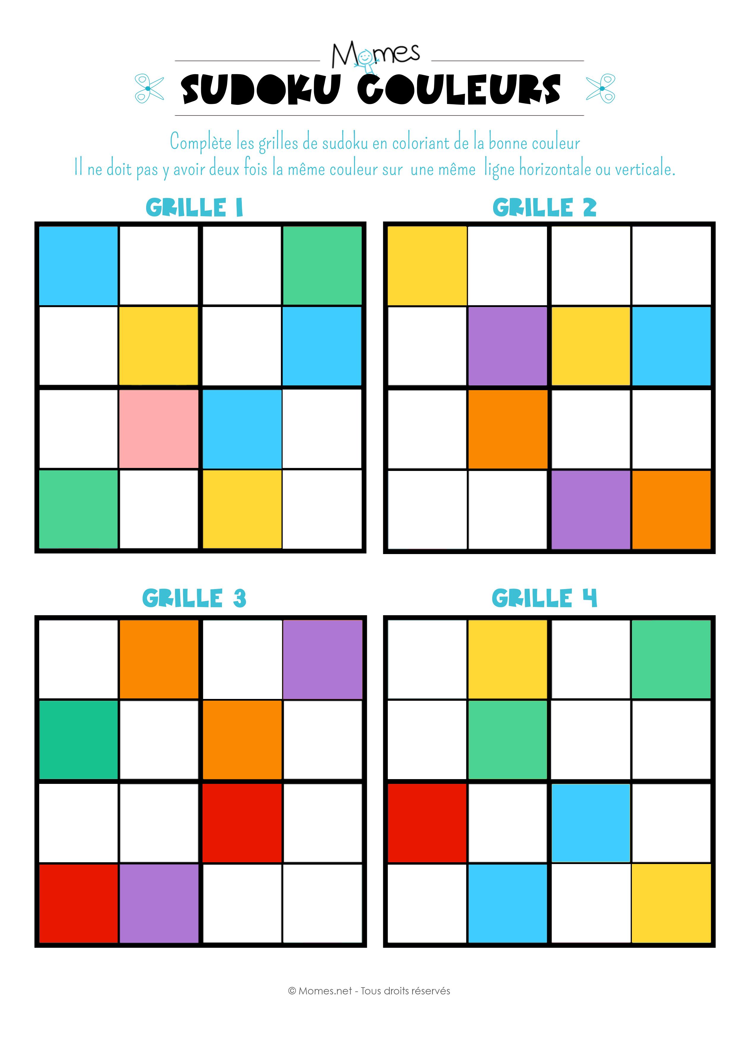 Sudoku Des Couleurs - Momes dedans Jeux De Maternelle À Imprimer
