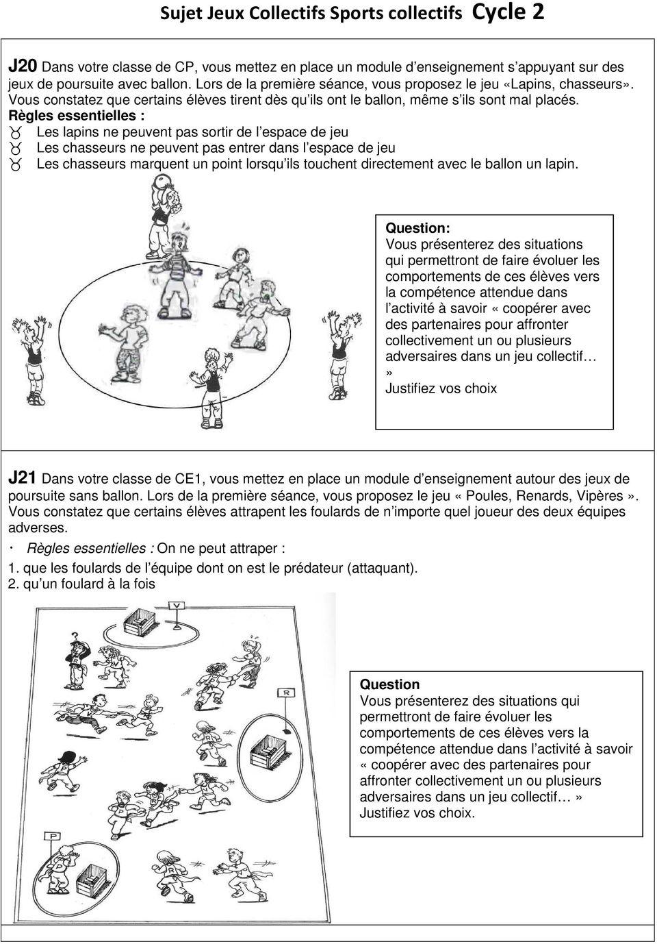 Sujet Jeux Collectifs Sports Collectifs Cycle 1 - Pdf Free serapportantà Jeux Collectifs Cycle 3 Sans Ballon