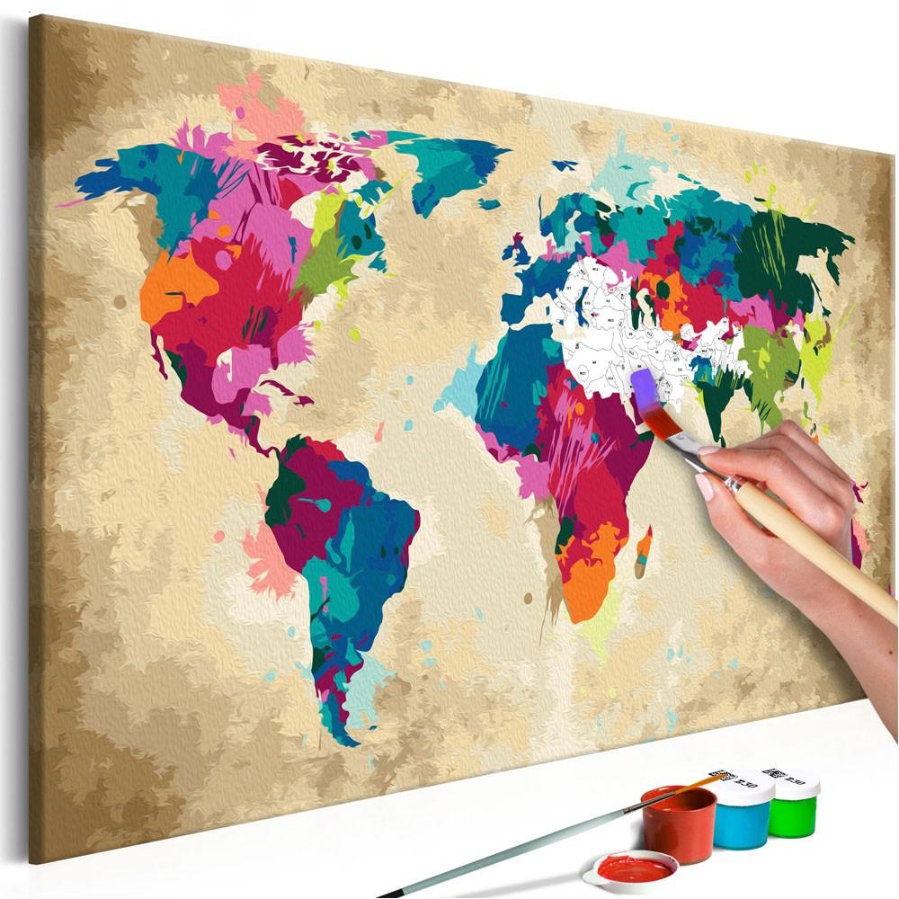Tableau À Peindre Par Soi-Même Carte Du Monde Colorée pour Tableau De Peinture Pour Enfant