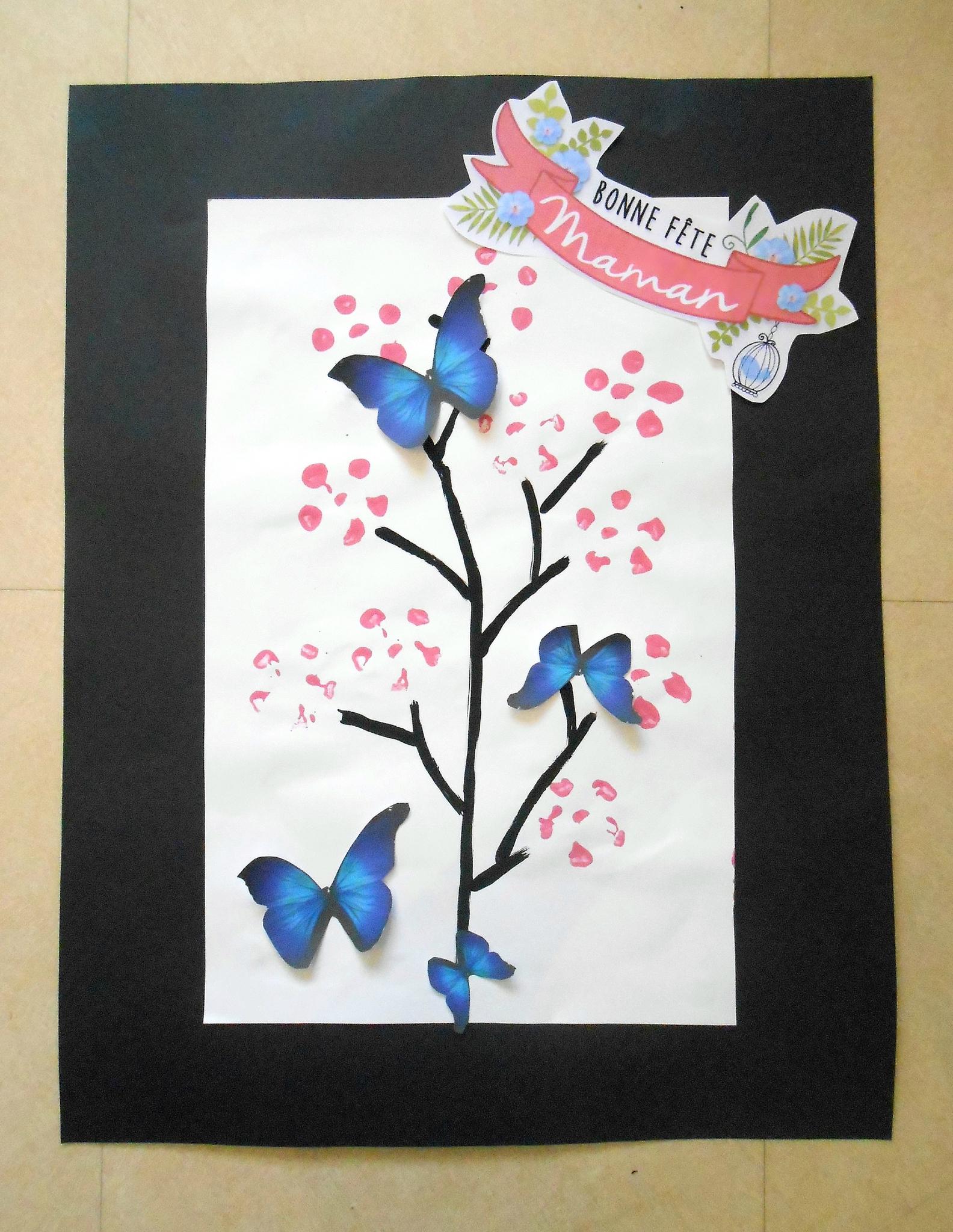 Tableau: Le Cerisier En Empreintes Pour La Fête Des Mères pour Tableau De Peinture Pour Enfant