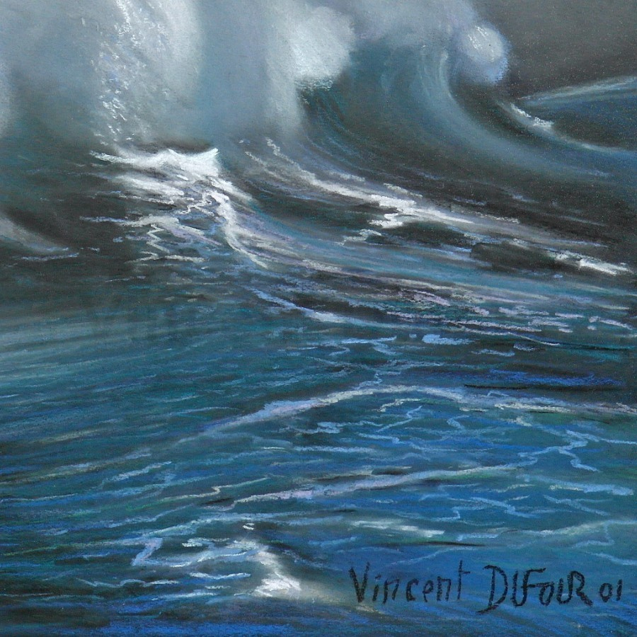 "Tableau Original ""la Vague"" (Pastel Sec) De Vincent Dufour à Dessin De Vague A Imprimer"
