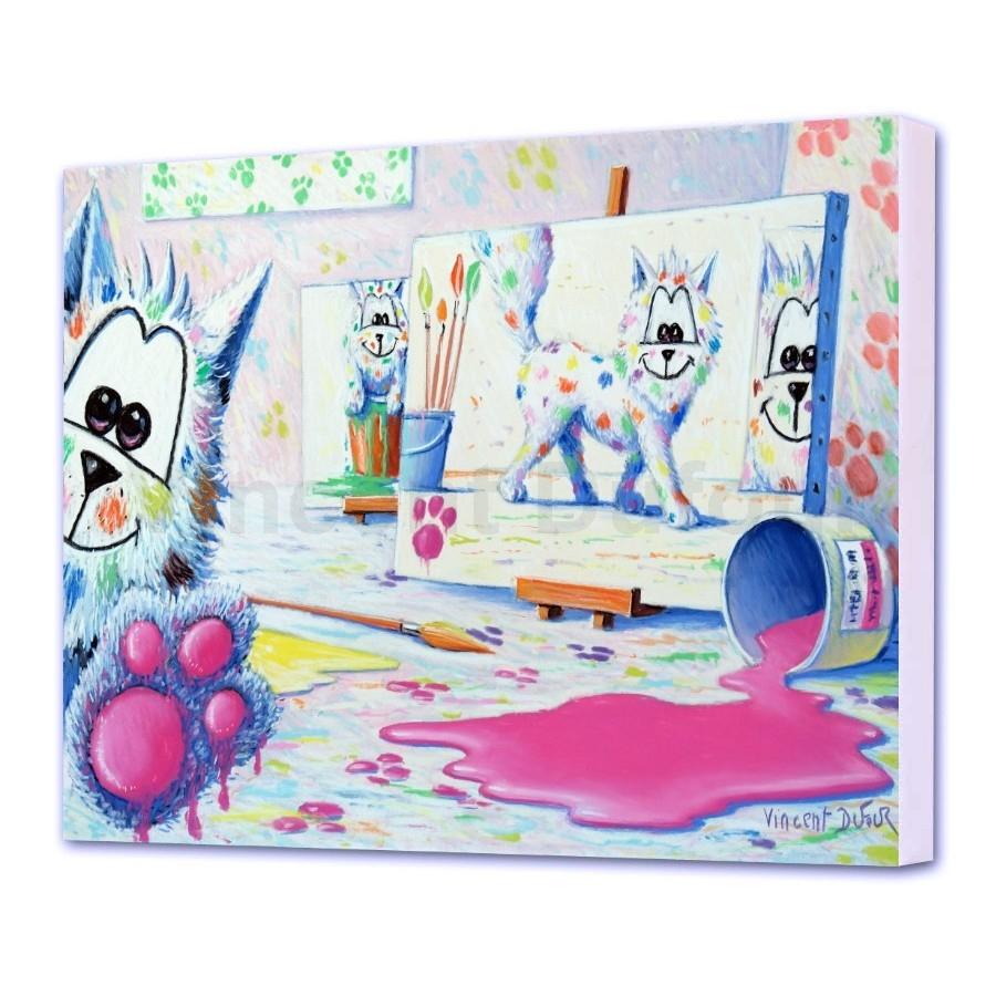 """Tableau Pour Enfant Et Bébé - Toile Chat """"signé Barbouille"""" (Châssis 3D) avec Tableau De Peinture Pour Enfant"""