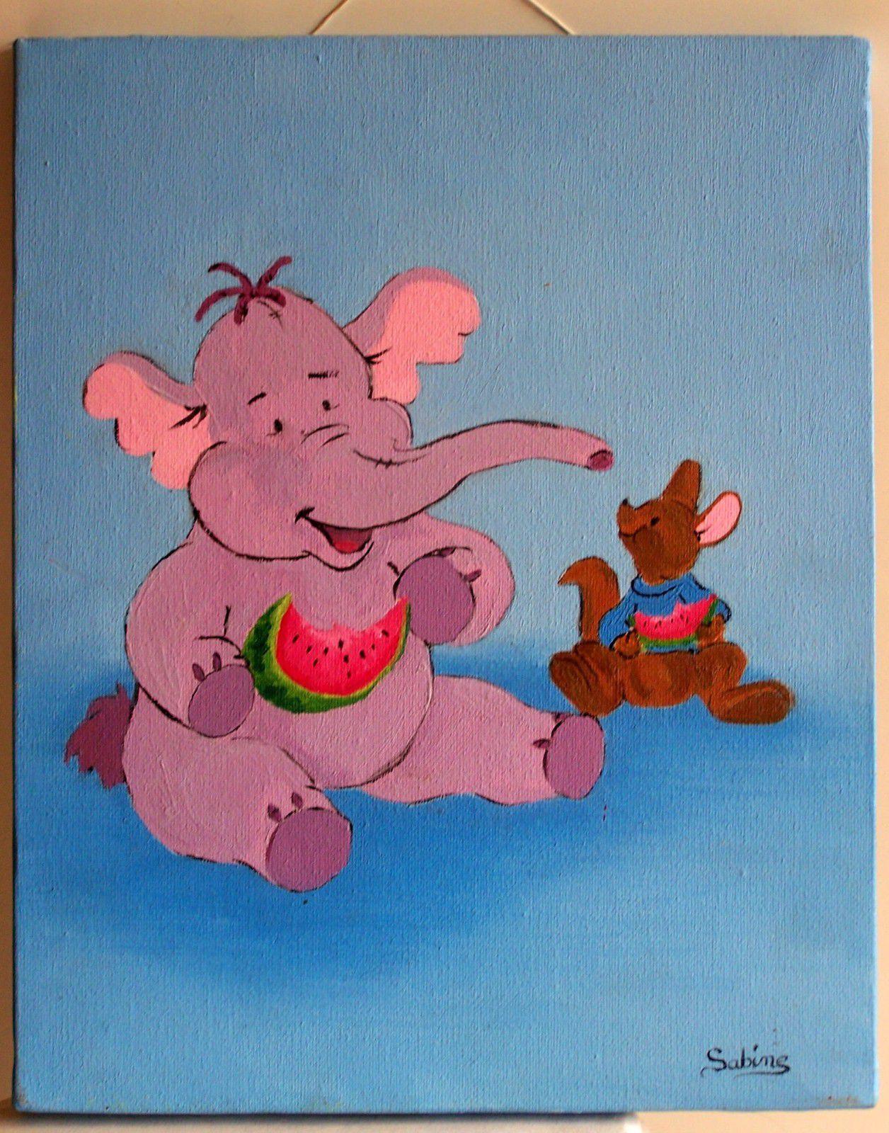 Tableau Pour Enfant : L'éfélant - Les Peintures De Sabine dedans Tableau De Peinture Pour Enfant