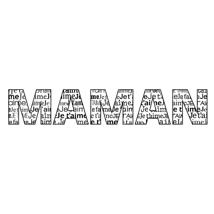 Tampon Bois Je T'aime Maman - 10 X 2,6 Cm serapportantà Texte Maman Je T Aime