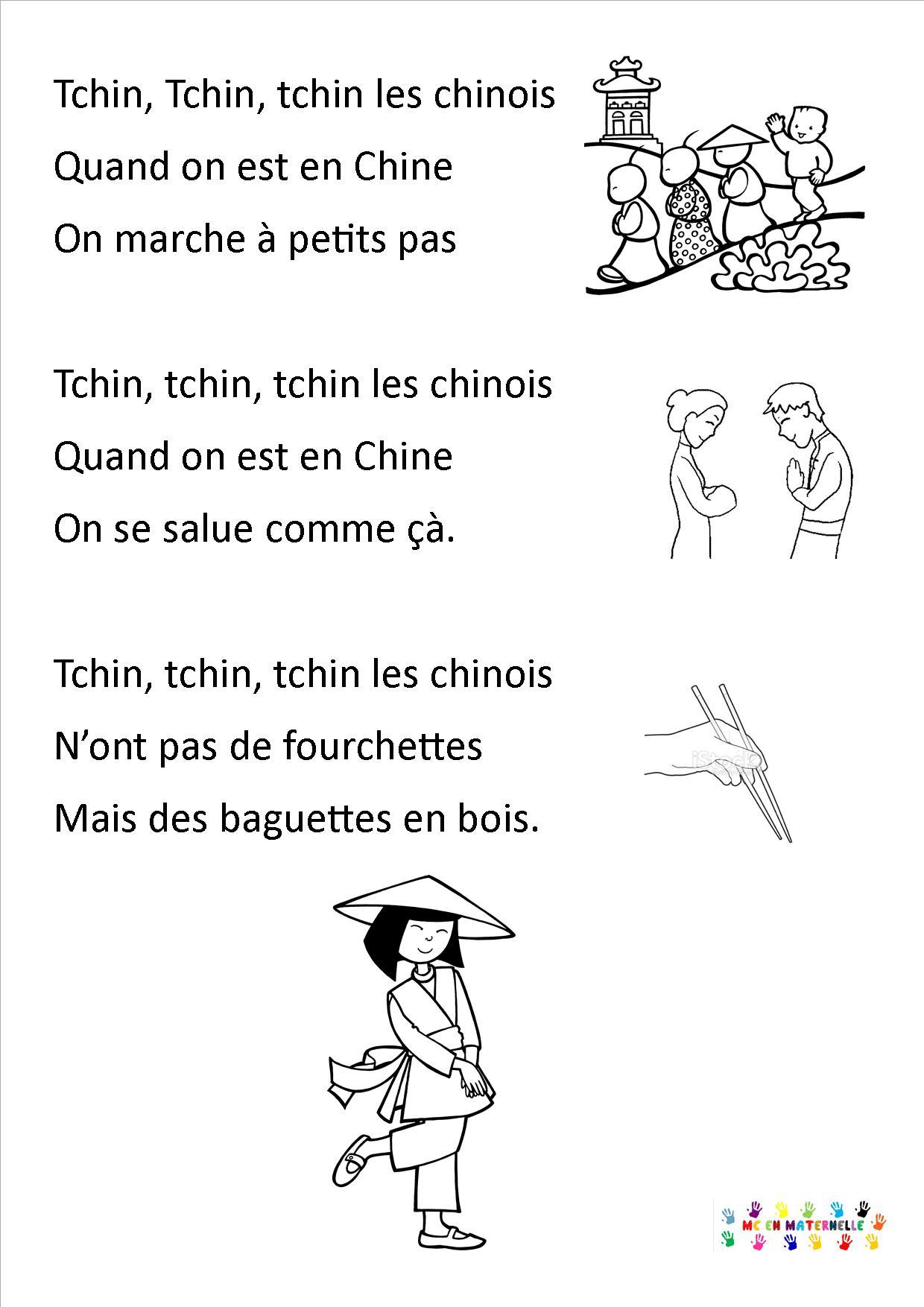 Tchin, Tchin, Tchin Les Chinois – Mc En Maternelle destiné Chanson De Noel En Chinois