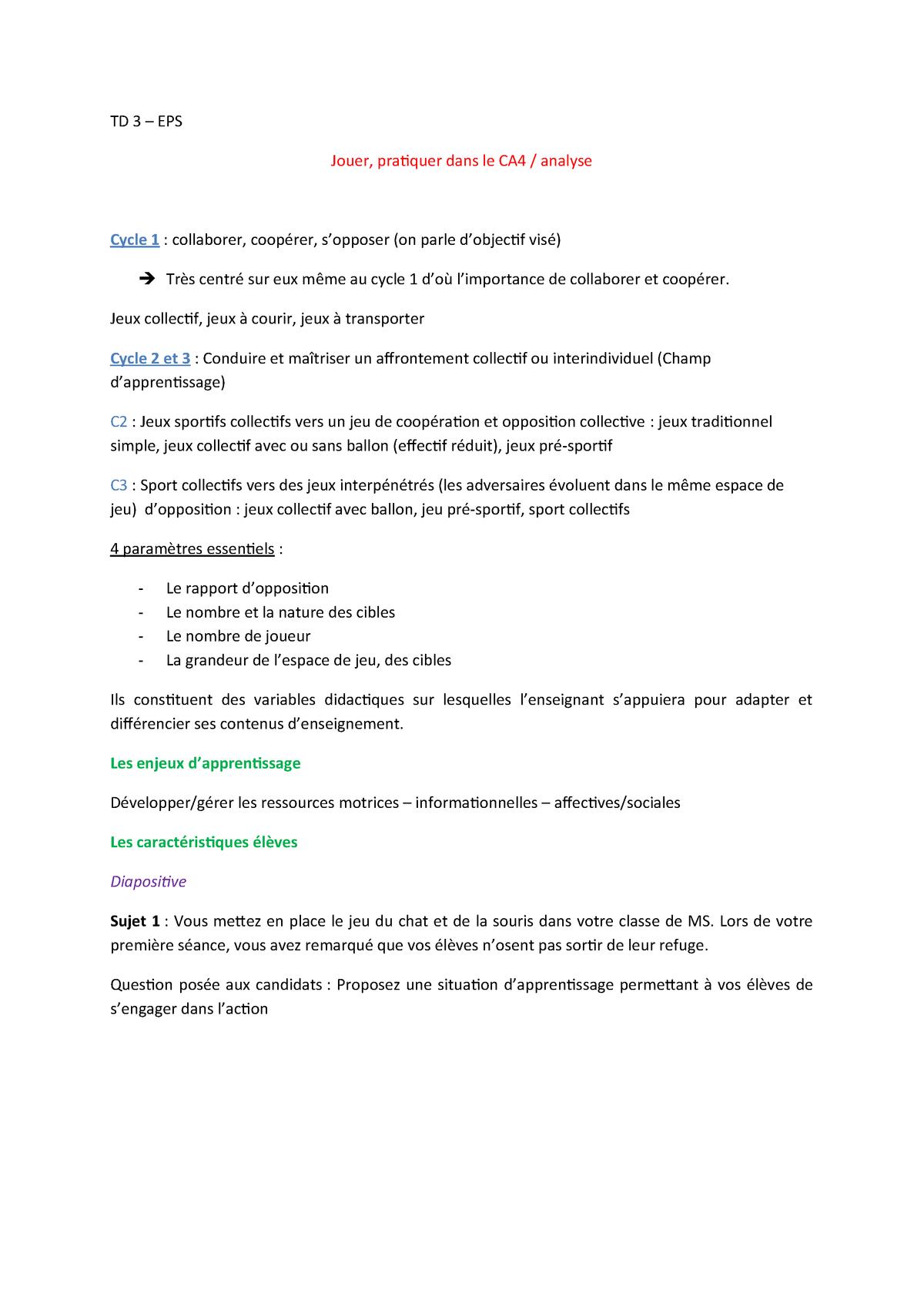 Td3 - Eps - Education Physique Et Sportive - Studocu tout Jeux Collectifs Cycle 3 Sans Ballon