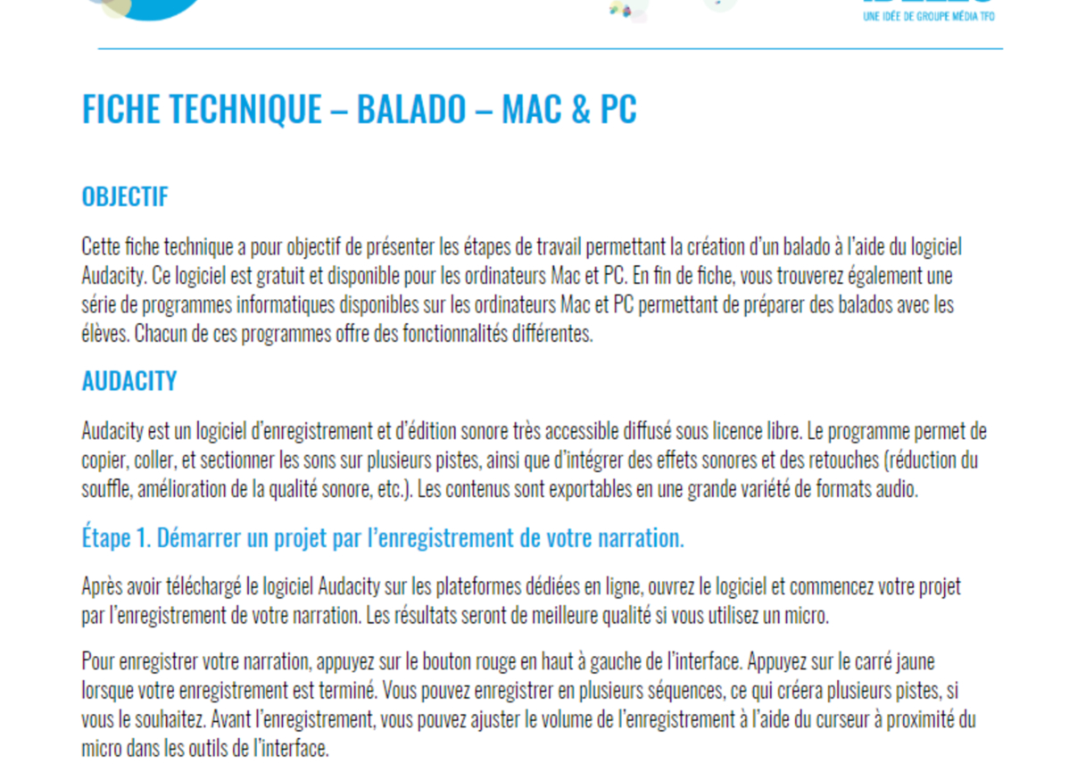 Technical Sheet - Podcast - Mac & Pc - Teaching Tool serapportantà Effet Sonore Gratuit