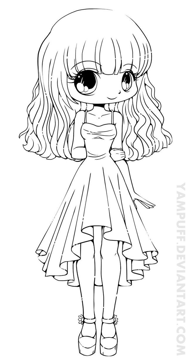Teej Chibi Lineart Commission By *yampuff On Deviantart pour Coloriage Manga Kawaii