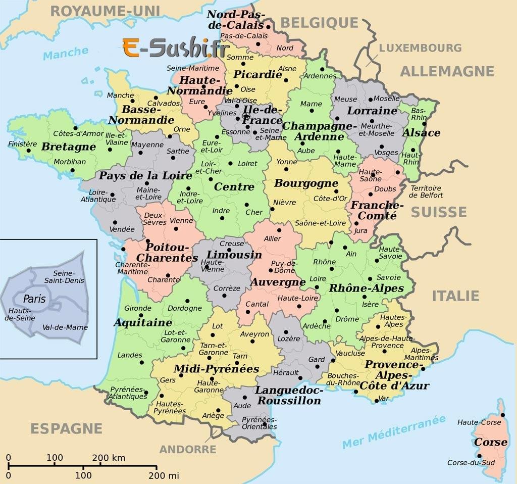 Télécharger Carte De France À Imprimer Avec Villes Pdf à Carte De France Avec Département À Imprimer