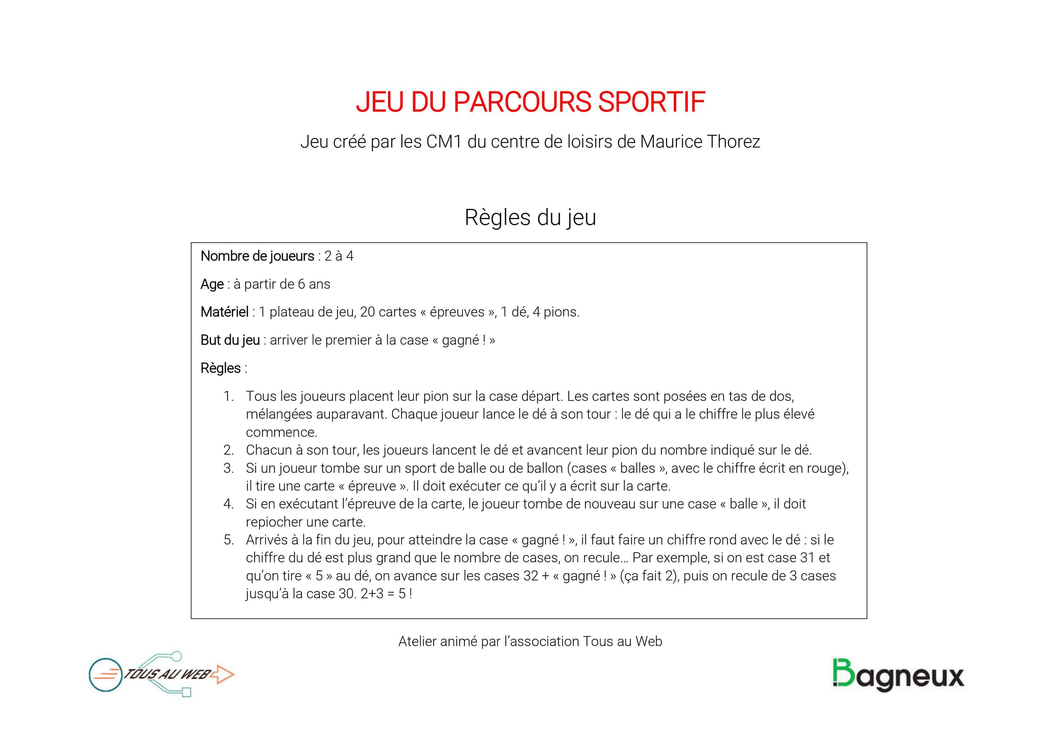 Télécharger] Jeu De Société: Le Parcours Sportif - Tous Au Web tout Jeux Sportifs 6 12 Ans