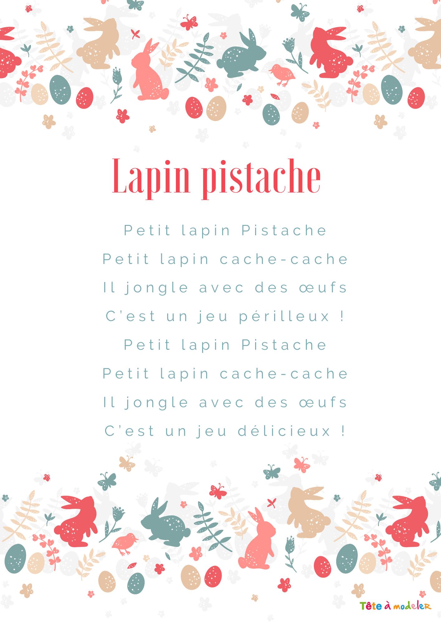 Texte De La Comptine Lapin De Paques - Tête À Modeler encequiconcerne Chanson Enfant Lapin