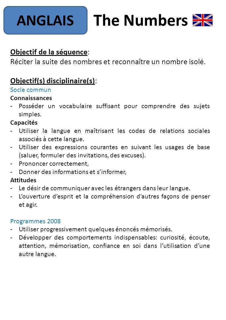 The Numbers Anglais Objectif De La Séquence: - Ppt Télécharger avec Chanson Des Chiffres En Français