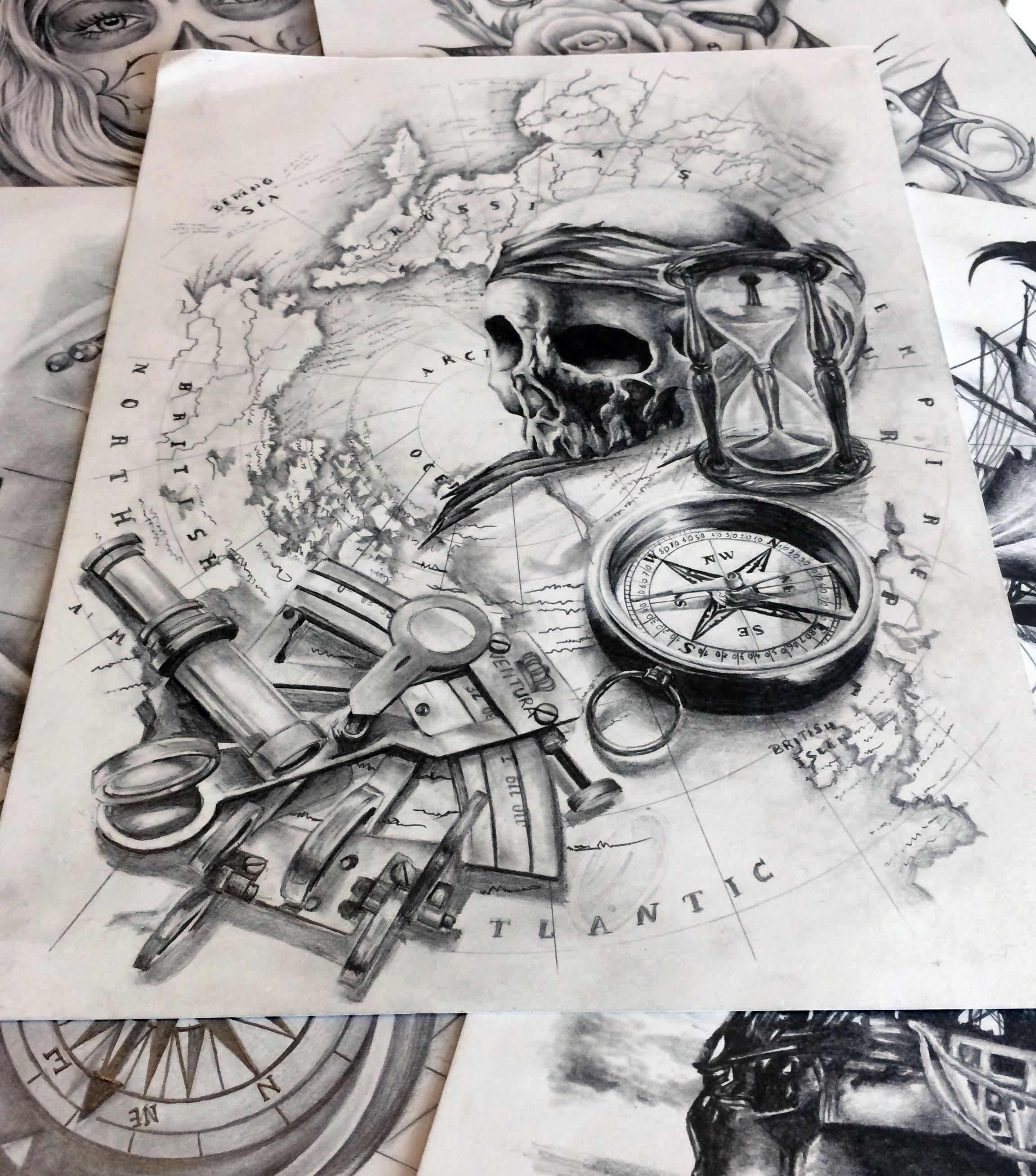 Thibault | Maingriz Tattoo Design avec Dessin Mappemonde