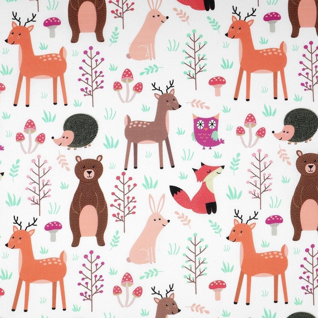 Tissu Coton Animaux De La Forêt avec Image D Animaux De La Foret