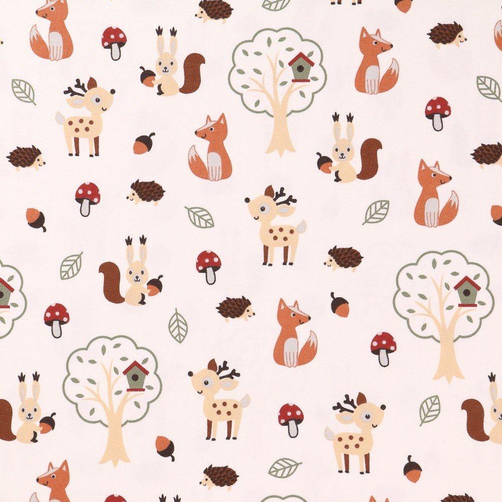 Tissu Jersey Coton Animaux De La Forêt Marrons, Beiges Et Verts Sur Fond  Ecru - Par 10 Cm intérieur Image D Animaux De La Foret