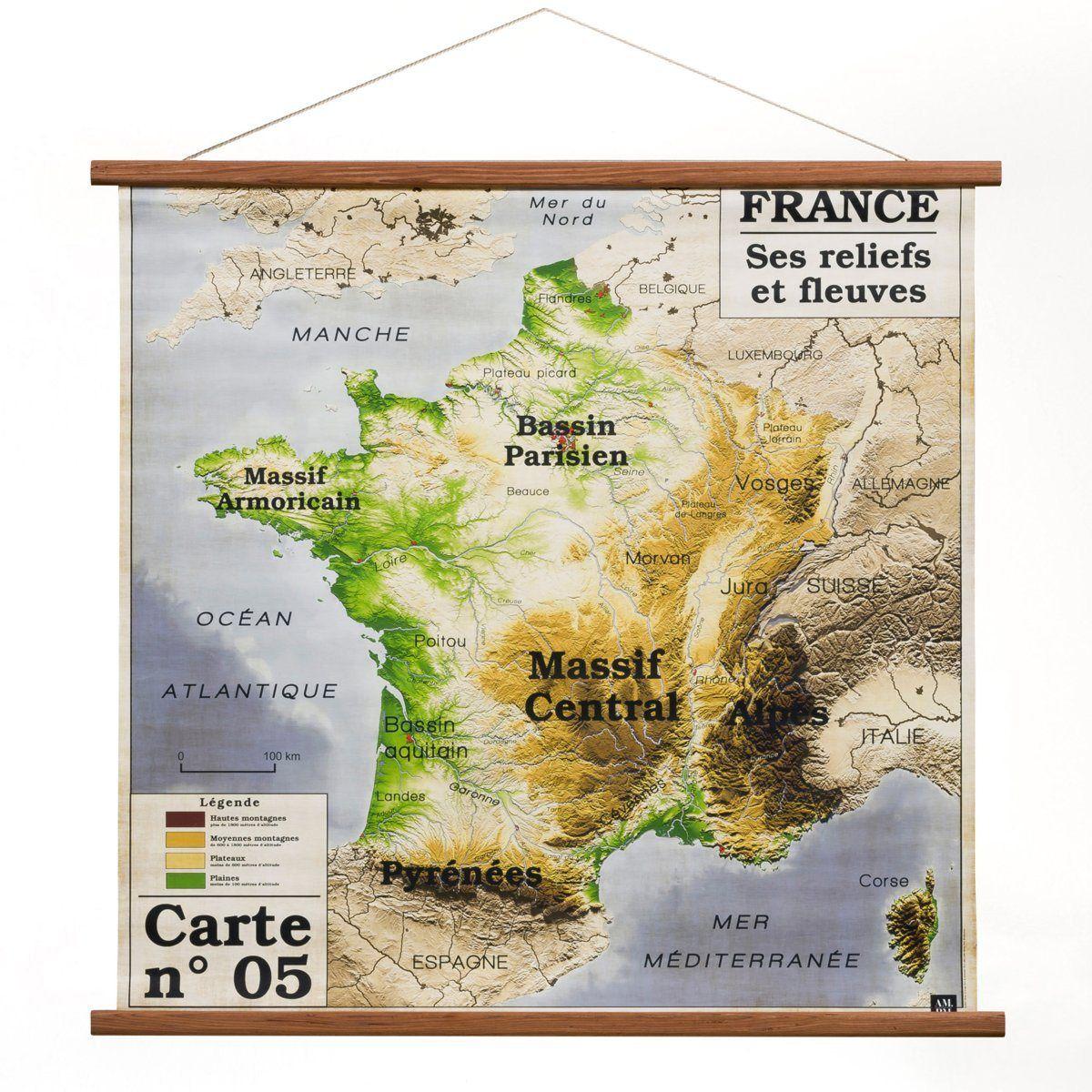 Toile Carte De France Discipline, Am.pm | Carte De France intérieur Carte De France Pour Les Enfants