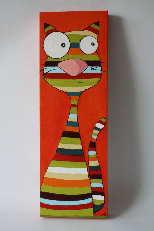 Toile Pour Enfant, Petit Chat Rigolo, Acrylique De La avec Tableau De Peinture Pour Enfant