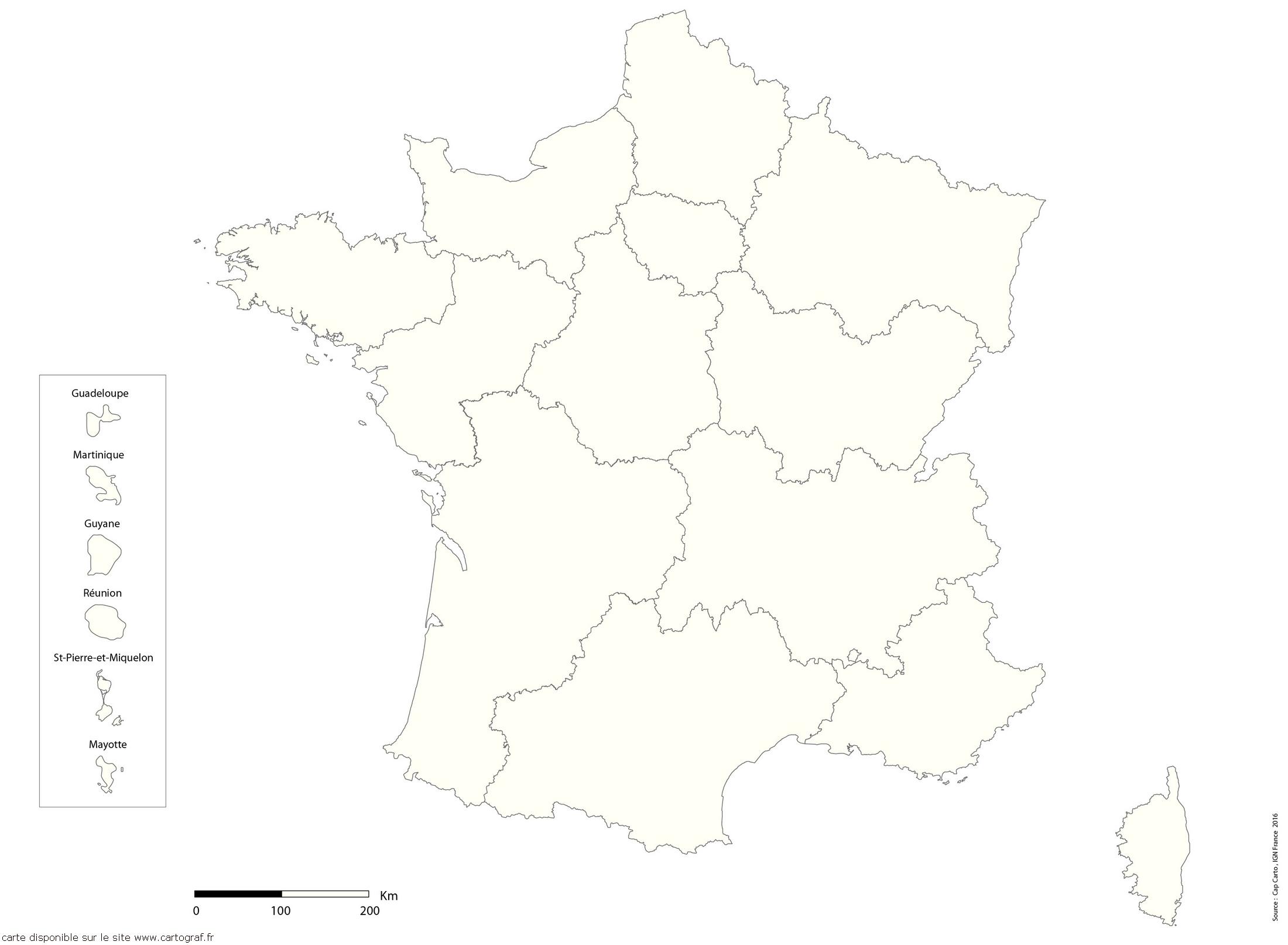 Top Five Carte De France Vierge Avec Nouvelles Régions à Carte Des Régions Vierge