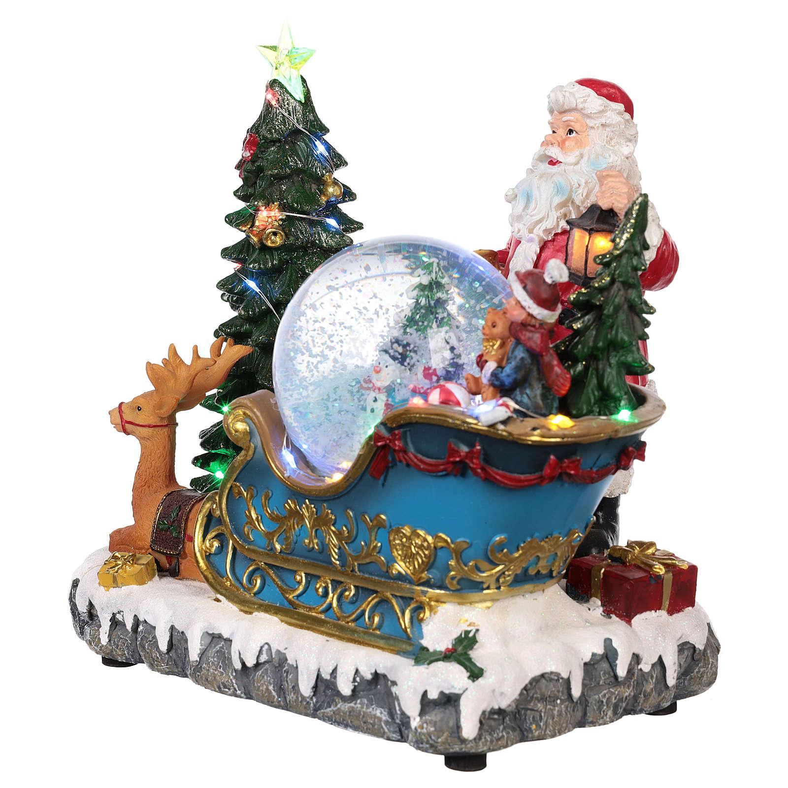 Traîneau Père Noël Boule À Neige Mouvement Lumières Musique 25X30X20 Cm intérieur Musique Du Père Noël