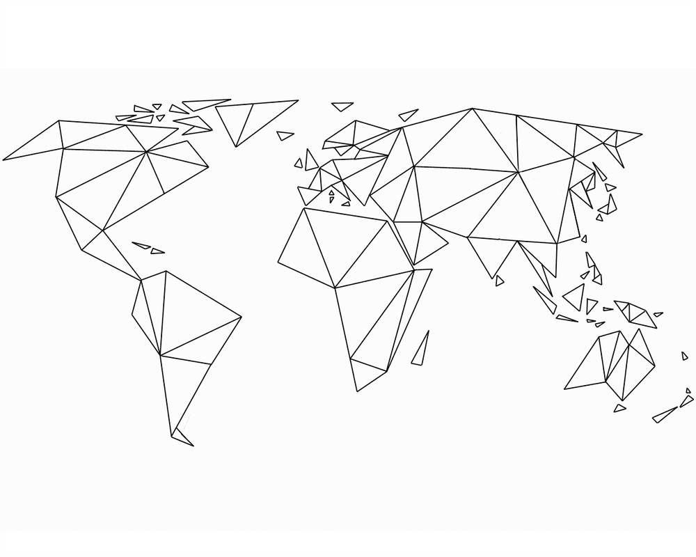 Triangular Planisphere By Nofuturenopast | Dessin Origami serapportantà Dessin Mappemonde
