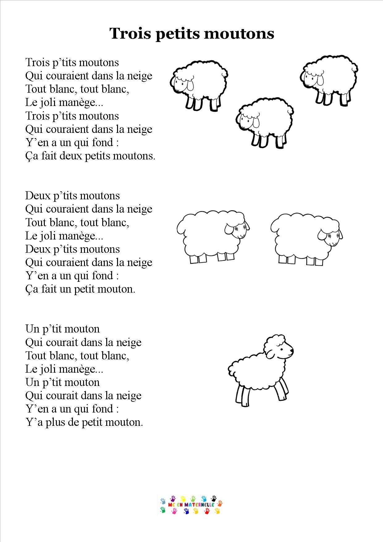 Trois Petits Moutons (Avec Images) | Chansons Comptines intérieur Chanson A Imprimer