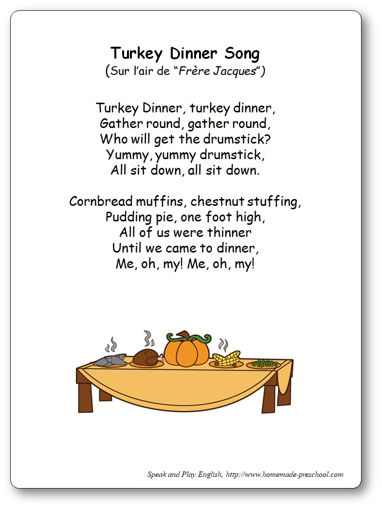 Turkey Dinner Song – Paroles De La Comptine En Anglais Sur L dedans Frere Jacques Anglais