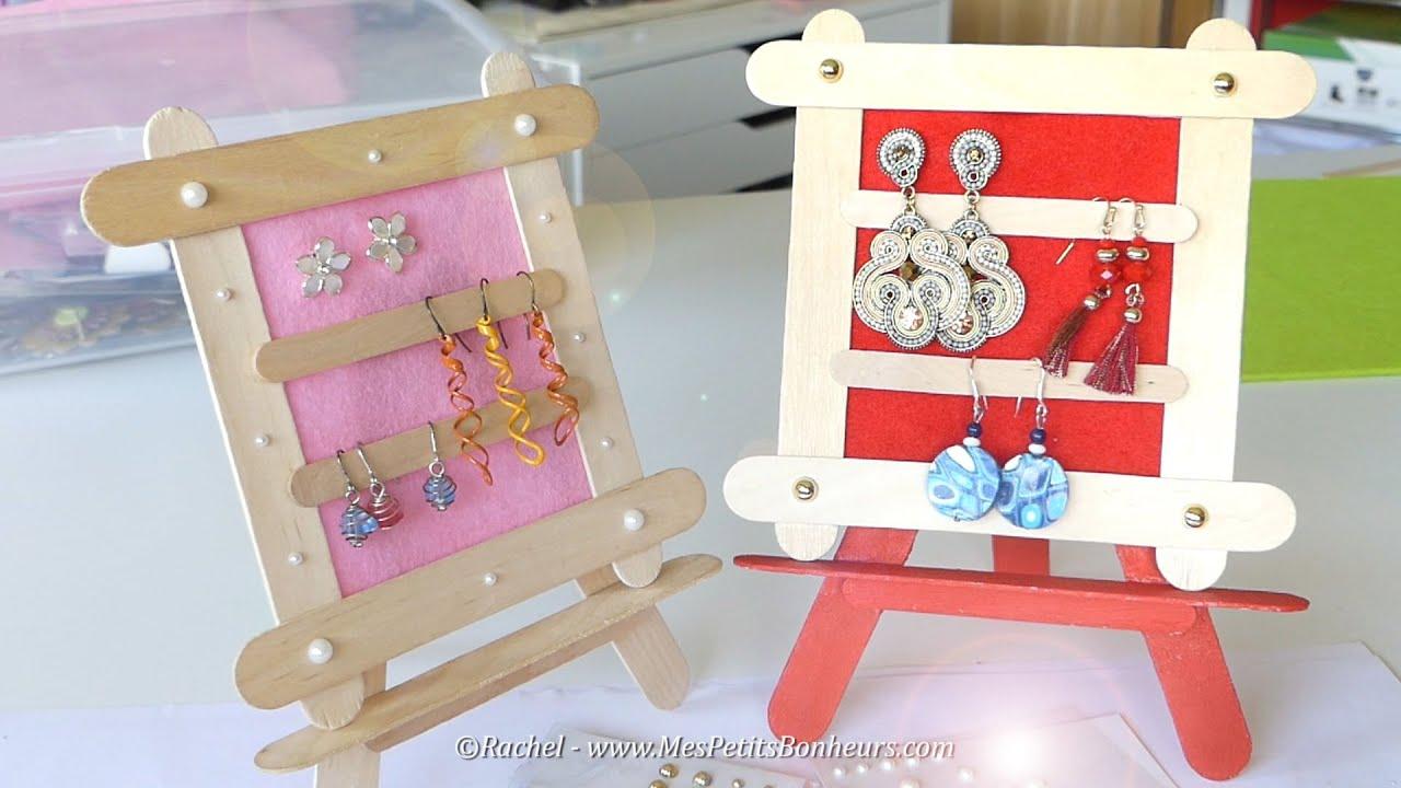 Tuto Cadeau Fête Des Mères En Bâtonnets: Cadre Pour Boucles D'oreilles destiné Bricolage Avec Baton De Bois