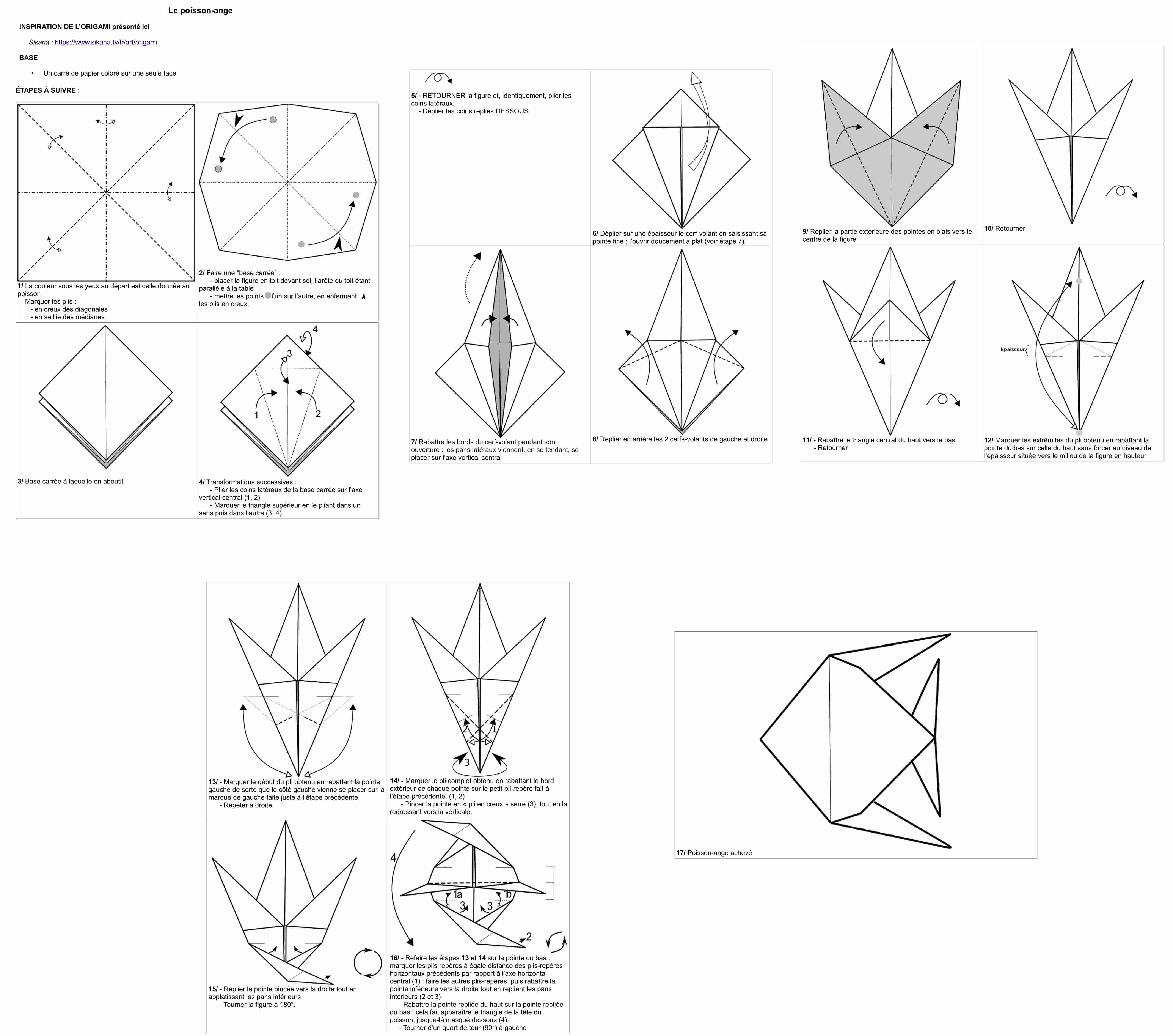 Tuto - Le Poisson-Ange En Origami (Diagramme Et Vidéo pour Origami Facile A Faire En Français