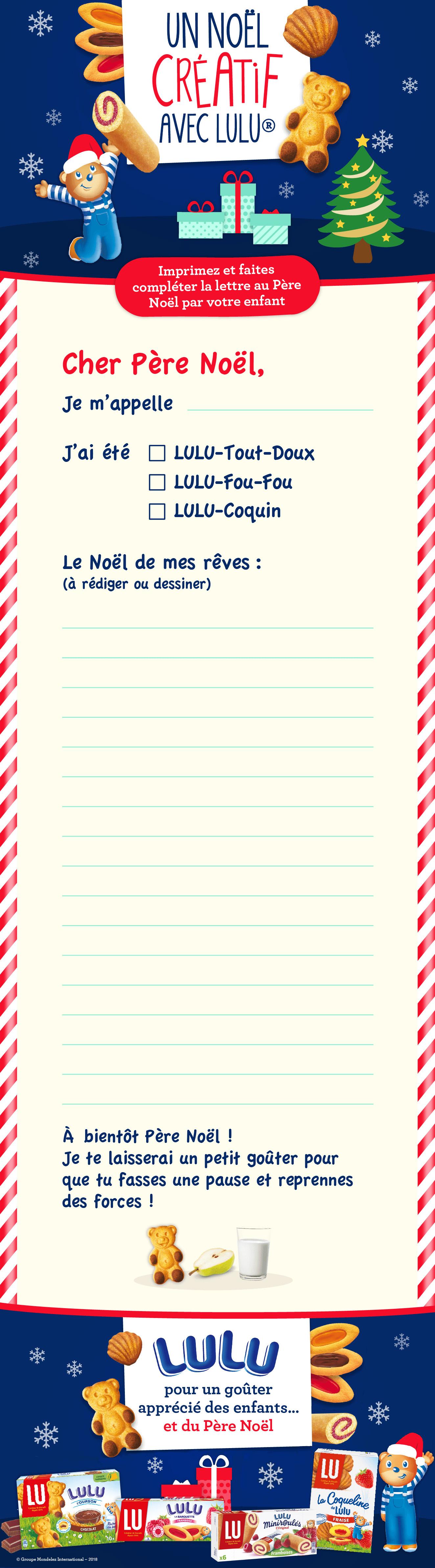 Un Modèle De Lettre Au Père Noël À Imprimer Avec Lulu à Liste Pere Noel Imprimer