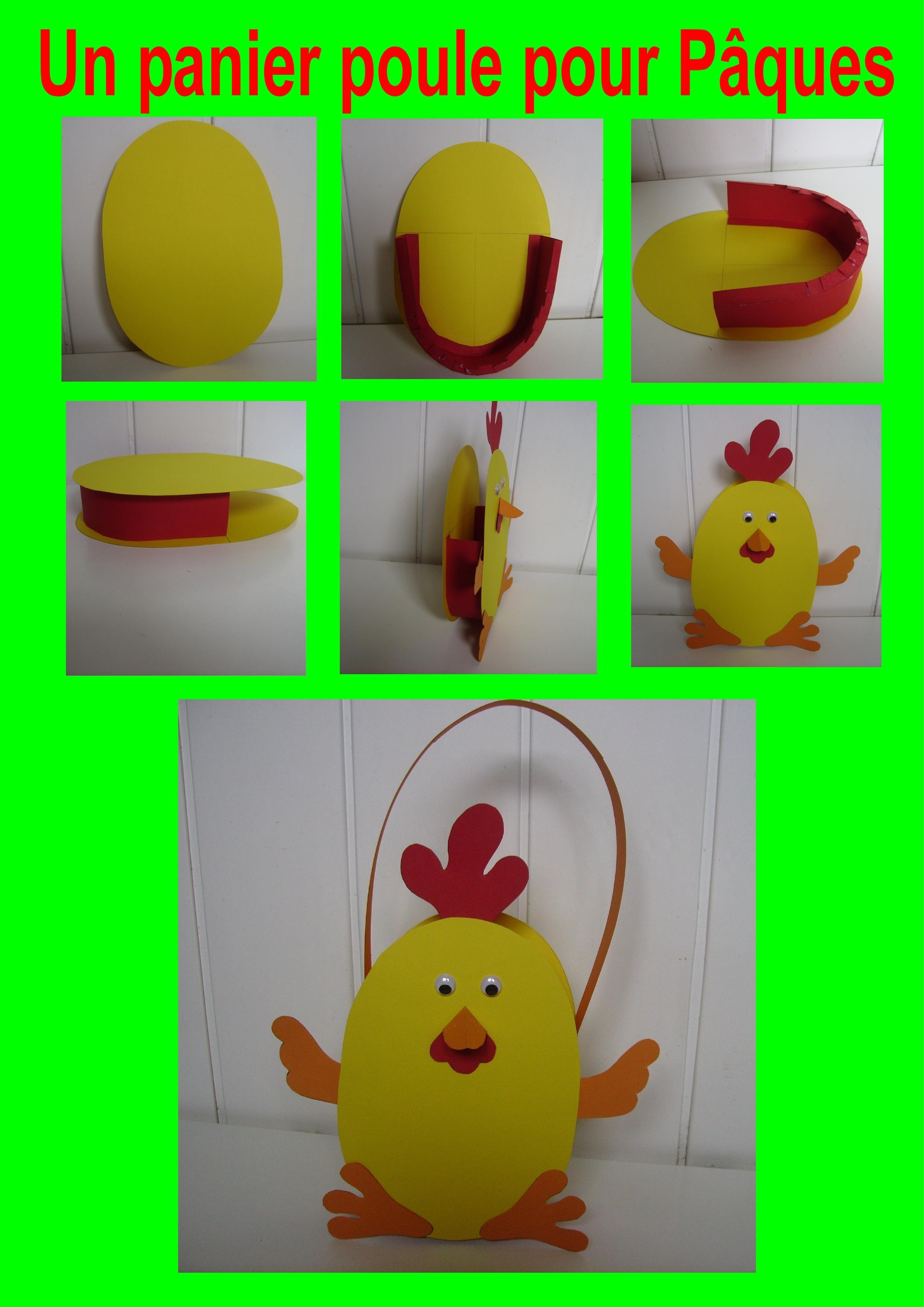 Un Panier Poule Pour Pâques | Bricolage De Paques Maternelle dedans Bricolage Pour Paques Maternelle