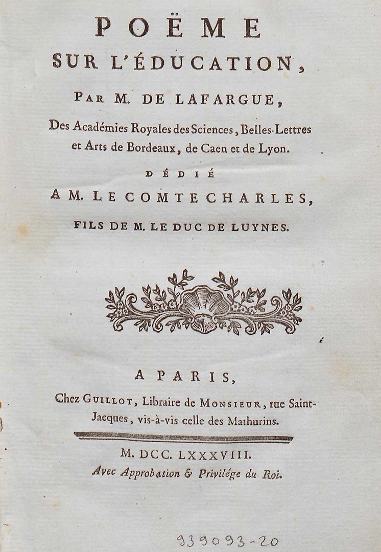 Un Poëme Sur L'éducation De M. De Lafargue – Interfaces encequiconcerne Poeme Les Fleurs