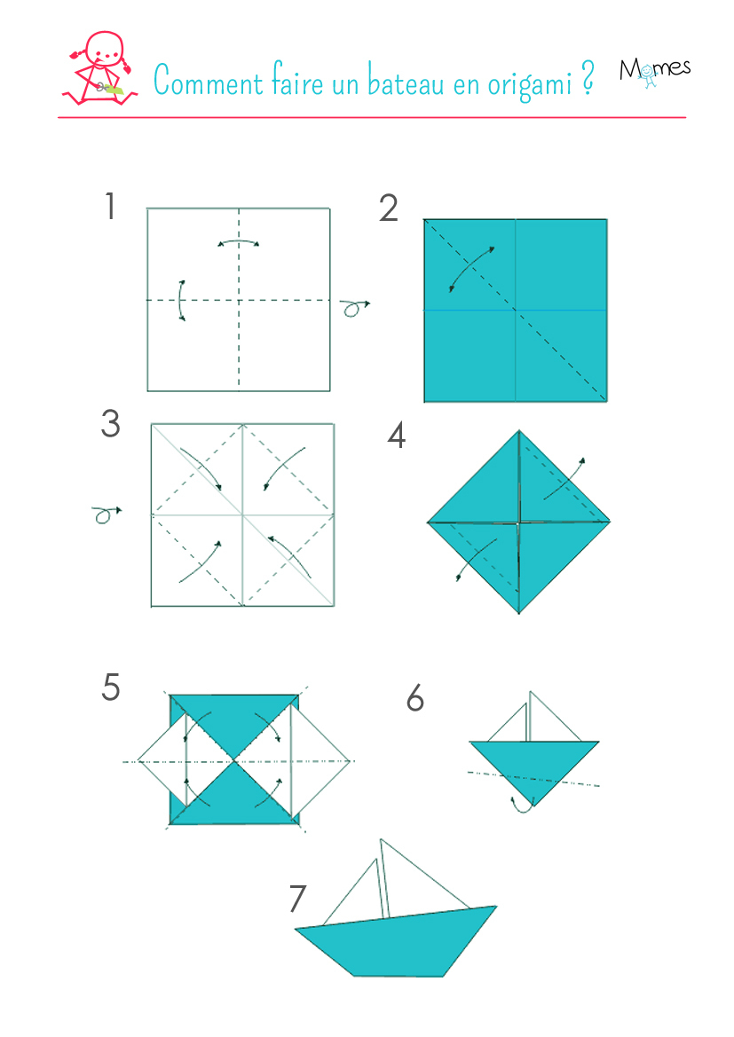 Un Voilier En Origami - Momes à Origami Facile A Faire En Français