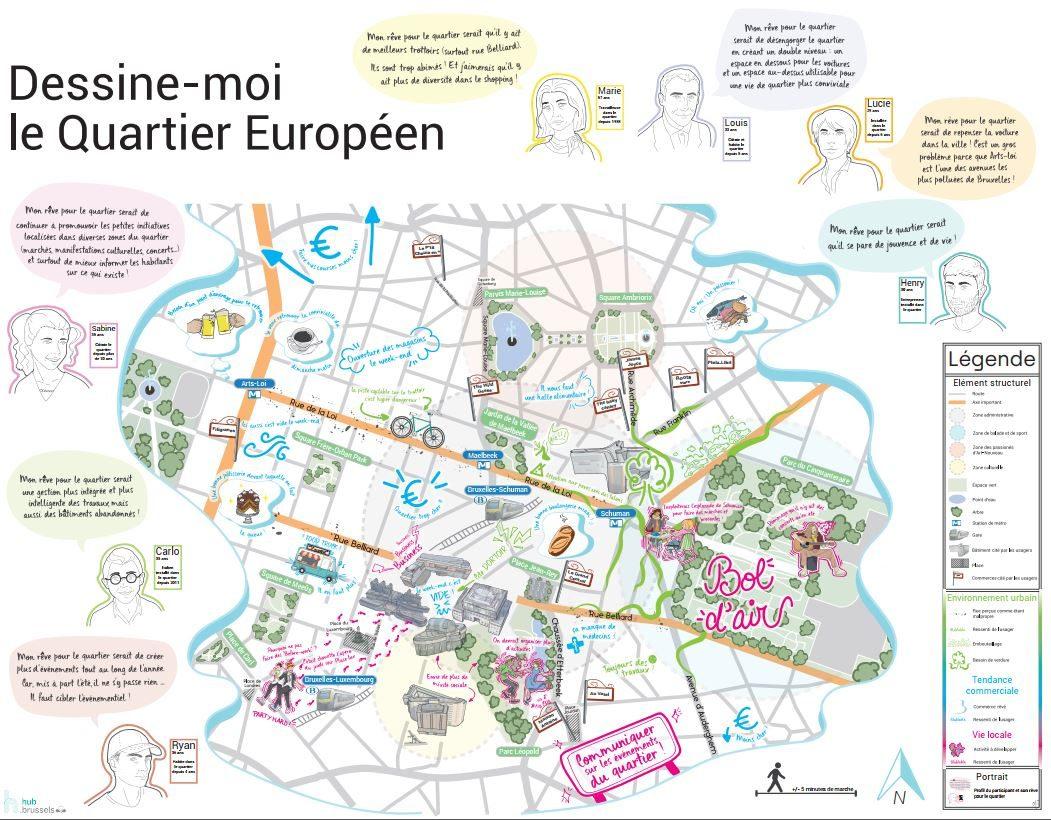 Une Carte Sensible Du Quartier Européen - Smart Retail City Lab à Union Européenne Carte Vierge