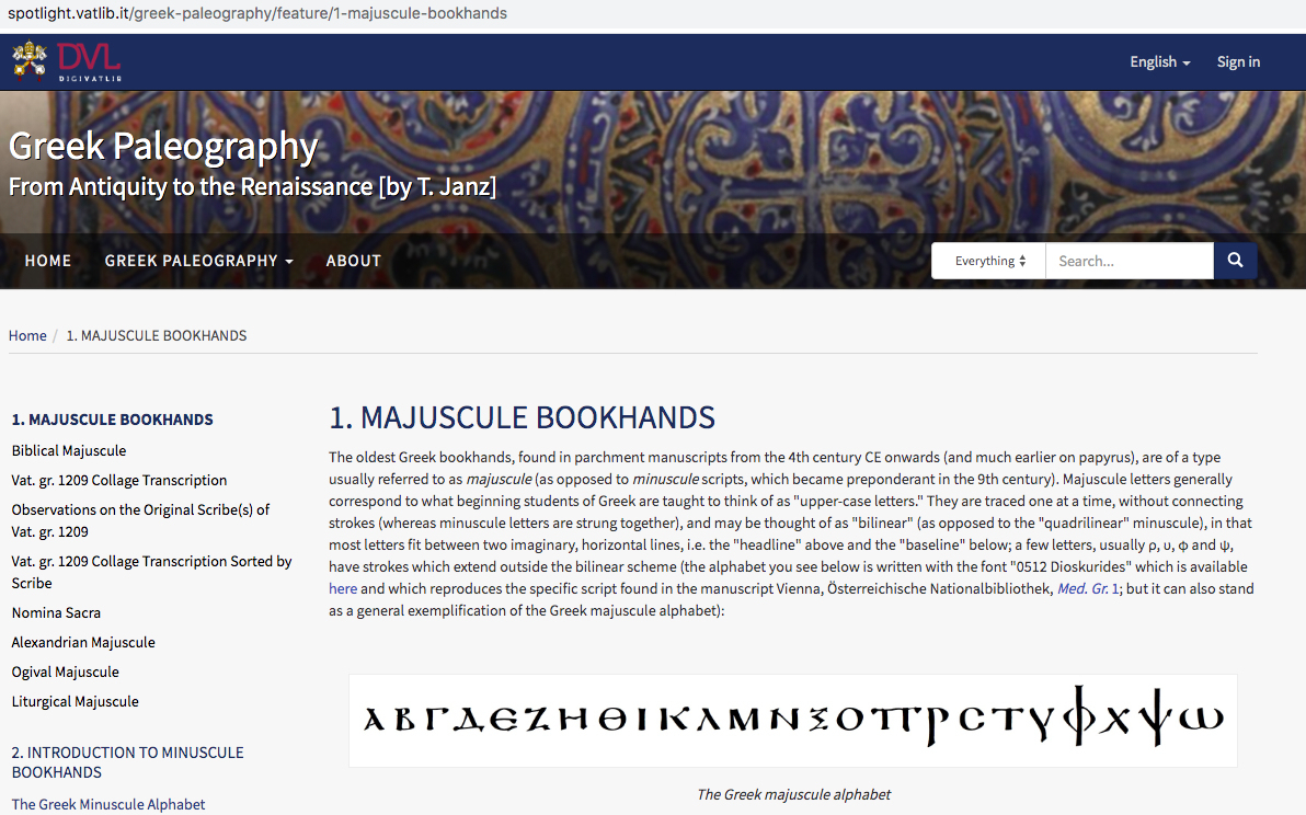 Vatican Library Website On Greek Palaeography | Variant Readings encequiconcerne Majuscule Script