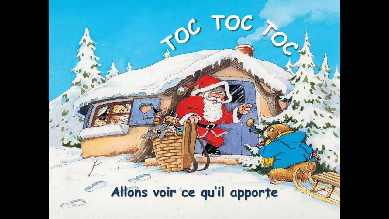 Versini - Les Chansons De Noël - Père Noël Frappe À La Porte - Miwiboo serapportantà Chanson Dans Son Manteau Rouge Et Blanc