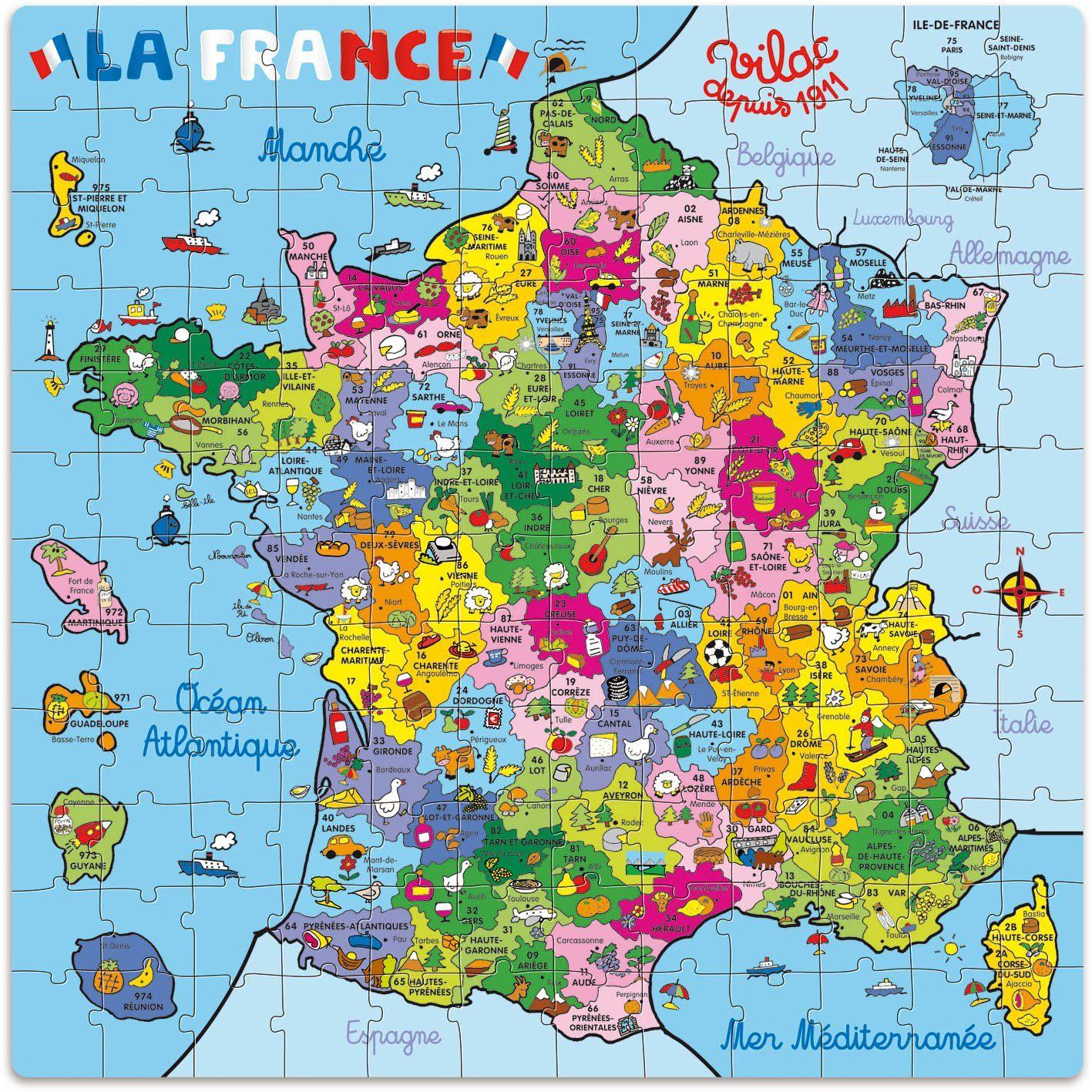Vilac - 2603 - Puzzle - Carte De France En Valise - 144 serapportantà Carte De France Pour Les Enfants