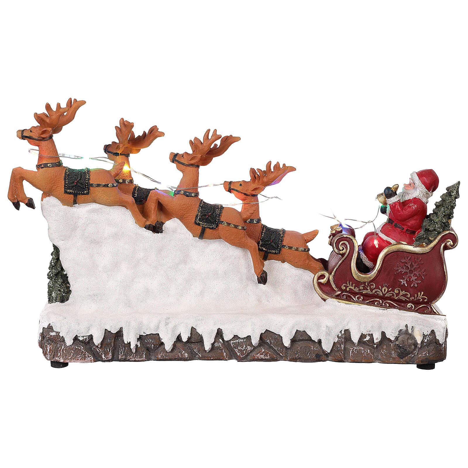 Village De Noël Traîneau De Père Noël Rennes Lumières Musique 25X40X10 Cm serapportantà Musique Du Père Noël