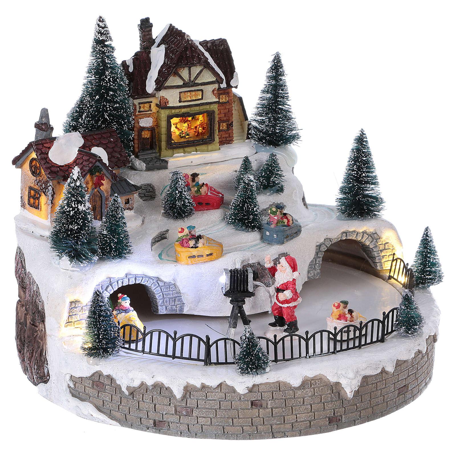Village Hivernal Père Noël Lumières Mouvement Musique 20X25X25 Cm Courant à Musique Du Père Noël