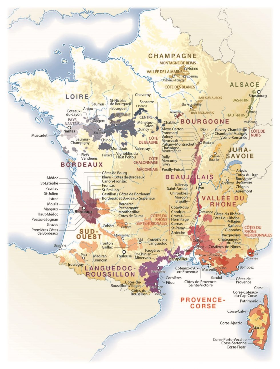 Vin : Les Meilleures Années Et Les Cépages Pour Bien Acheter pour Imprimer Une Carte De France