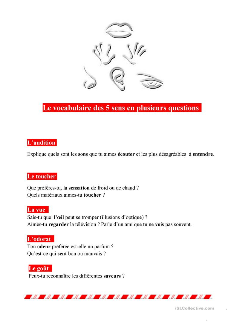 Vocabulaire Des Sens - Français Fle Fiches Pedagogiques destiné Fiche Pédagogique Les 5 Sens