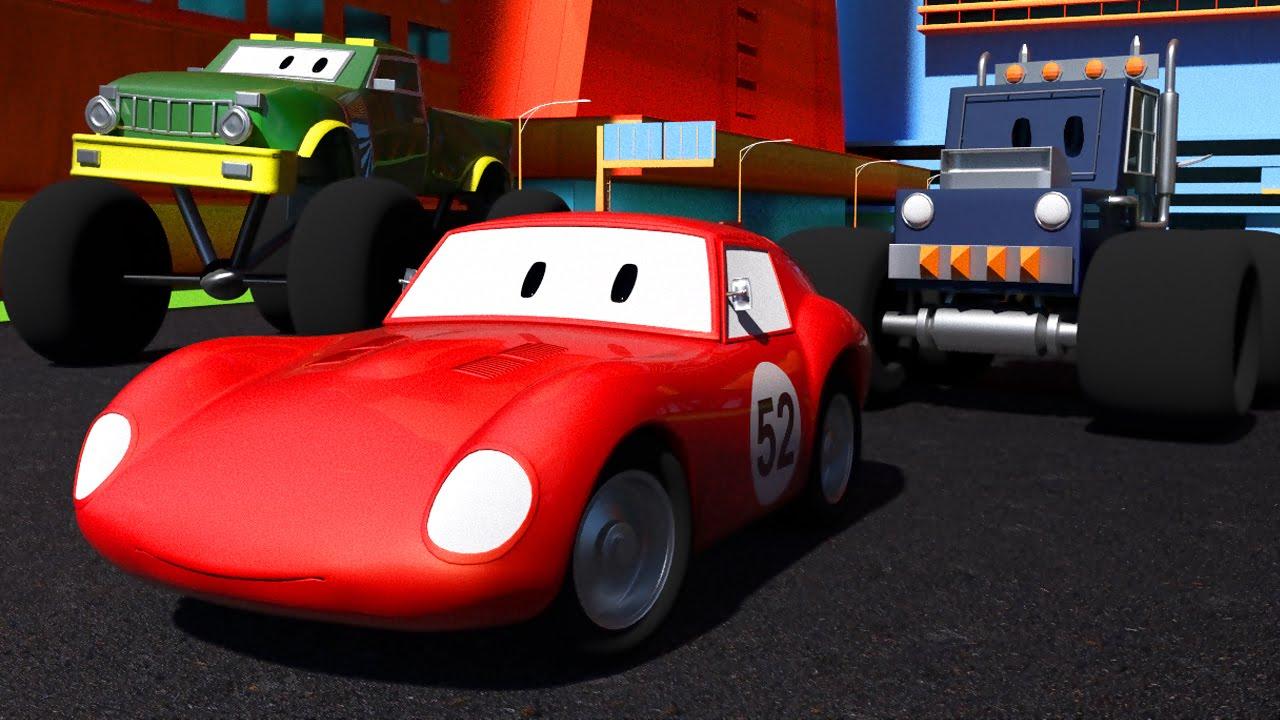 Voiture De Course Spid + 2 Camions Monster Trucks | Dessin Animé Pour  Enfant À La Flash Mcqueen Cars concernant La Voiture De Course Dessin Animé