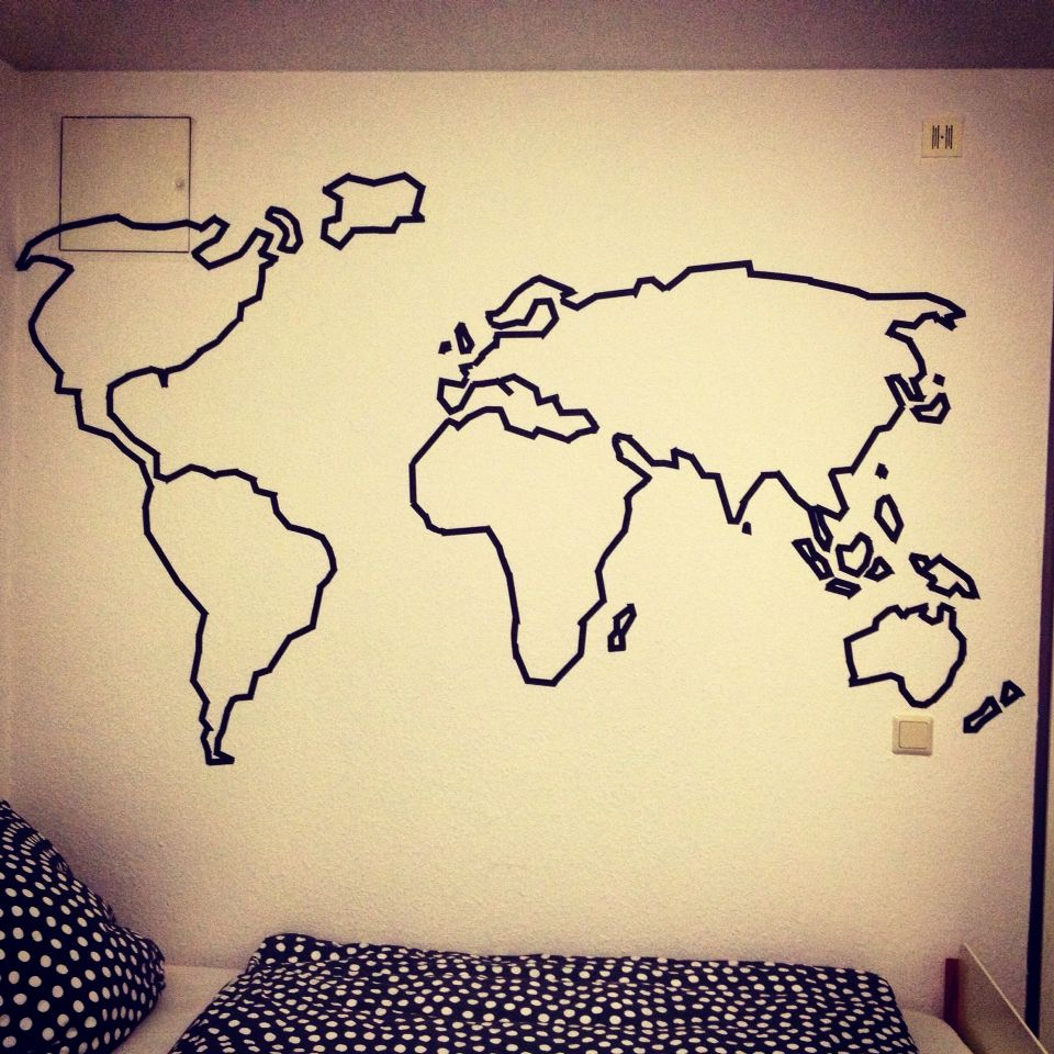 Washi Tape World Map On My Wall | Dessin Mural, Ruban serapportantà Dessin Mappemonde