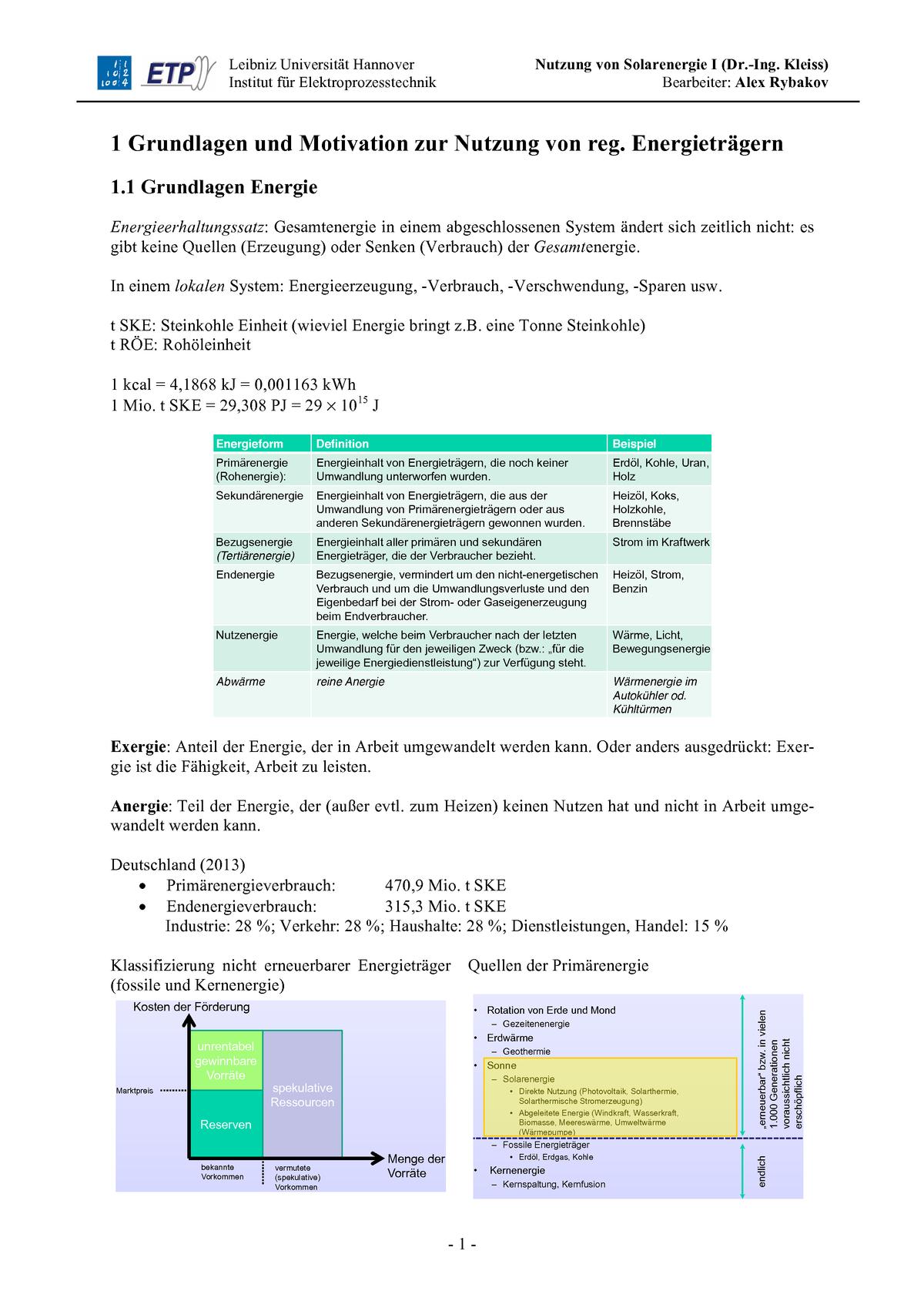 Zf] Nse I - Zusammenfassung - Nutzung Von Solarenergie I encequiconcerne Le Son F Cp