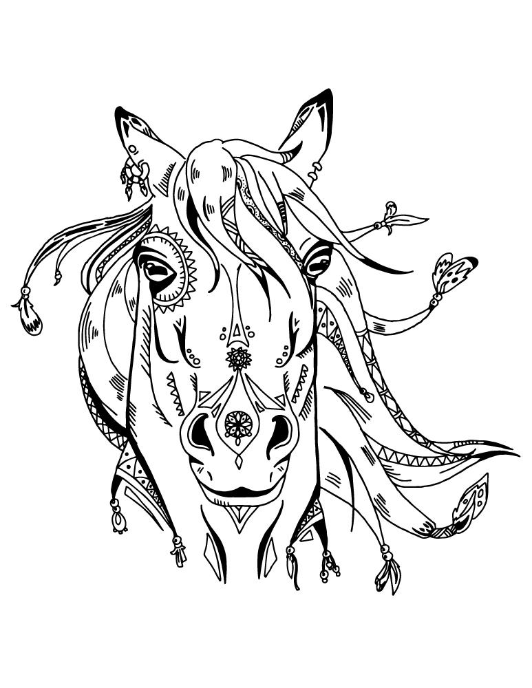 Art Thérapie Animaux Cheval Boho Coloriage Pour Adulte À dedans Dessin De Cheval À Imprimer