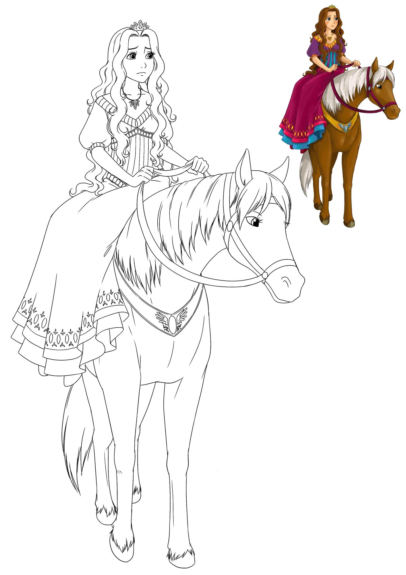Coloriage À Imprimer : Une Belle Princesse Sur Son Cheval intérieur Dessin De Cheval À Imprimer