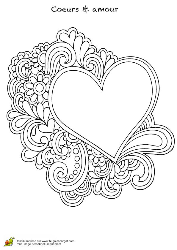 Coloriage Coeur Mandala Et Amour | Coloriage Coeur pour Coloriage Hugo Lescargot Mandala