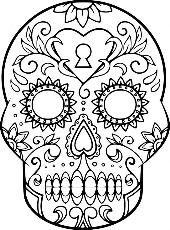 Coloriage Crâne En Sucre À Imprimer Sur Coloriages pour Crane Mexicain Dessin
