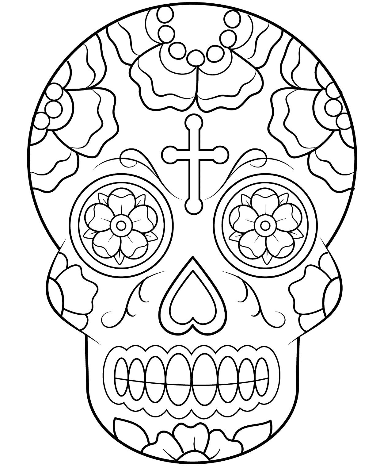 Coloriage Crane En Sucre Du Mexique À Imprimer à Crane Mexicain Dessin