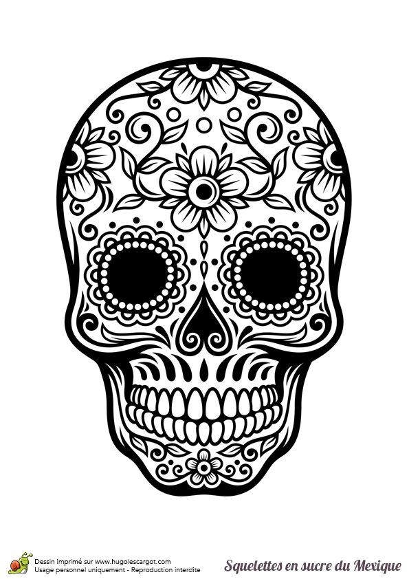 Coloriage Crâne En Sucre Mexicain, Fleurs Et Harmonie. Ref encequiconcerne Crane Mexicain Dessin