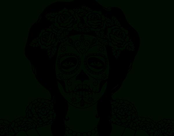 Coloriage De Crâne Mexicain Femme Pour Colorier destiné Crane Mexicain Dessin